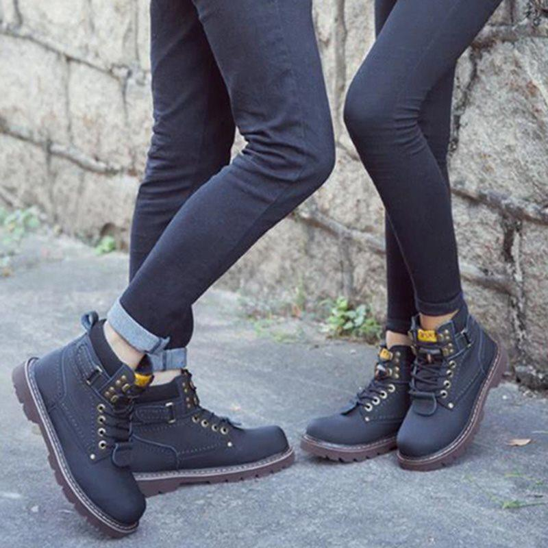 Lace-Up Front Patchwork Round Toe Boots
