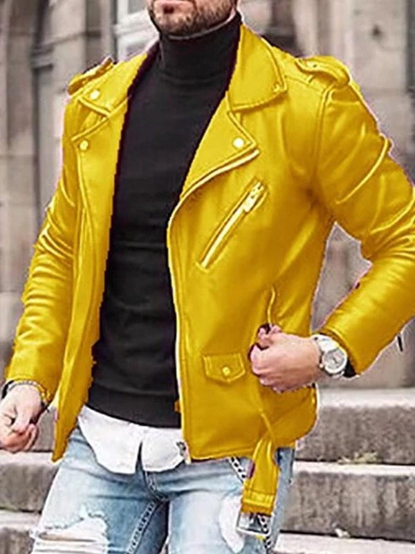 Plain Lapel Zipper Slim Zipper Jacket