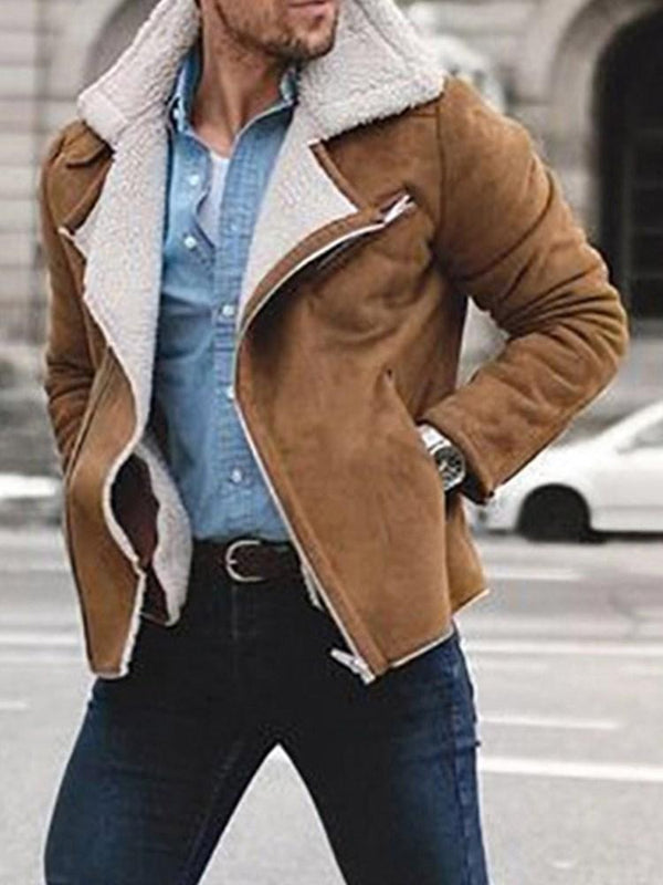 Thick Color Block Lapel Casual Fall Jacket