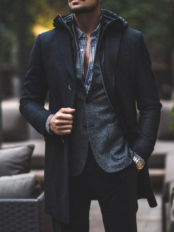Button Plain Mid-Length Single-Breasted Fashion Coat