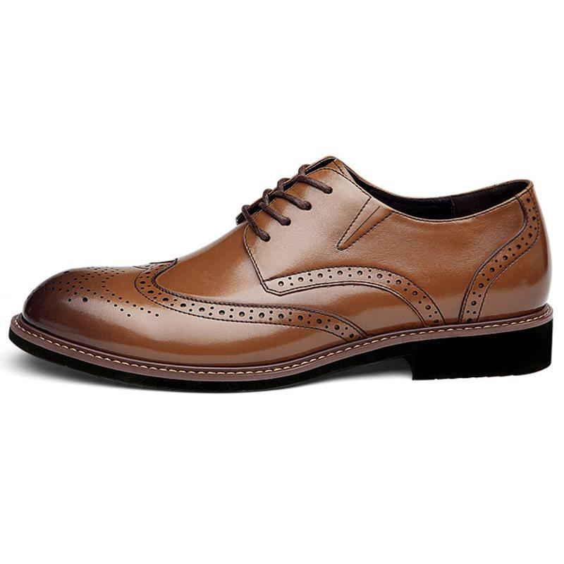 Low-Cut Upper Round Toe Leather Leather Shoes