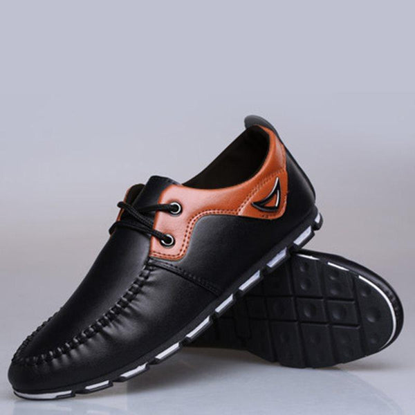 Flat With Color Block Low-Cut Upper PU Round Toe Leather Shoes