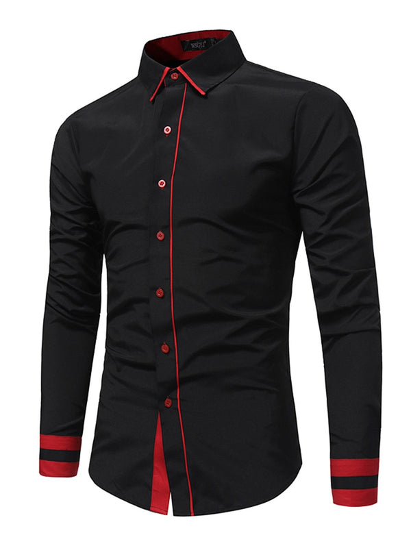 Lapel Plain Slim Fall Shirt