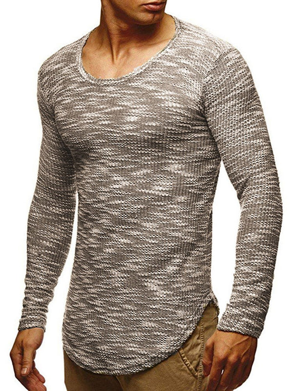Plain Round Neck European Long Sleeve Slim T-shirt