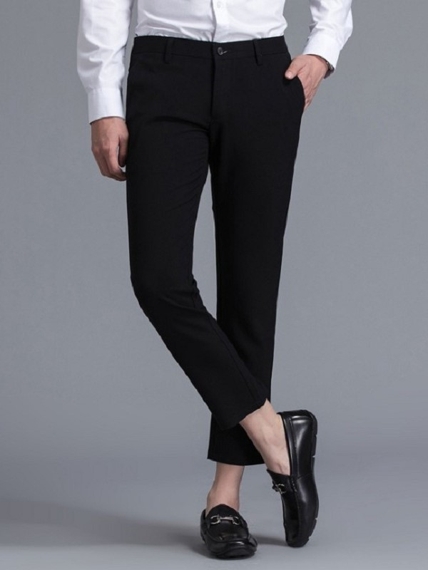 Pocket Straight Plain Mid Waist Suit Trousers