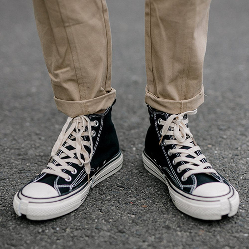 Flat With Lace-Up High-Cut Upper Round Toe Skate Shoes
