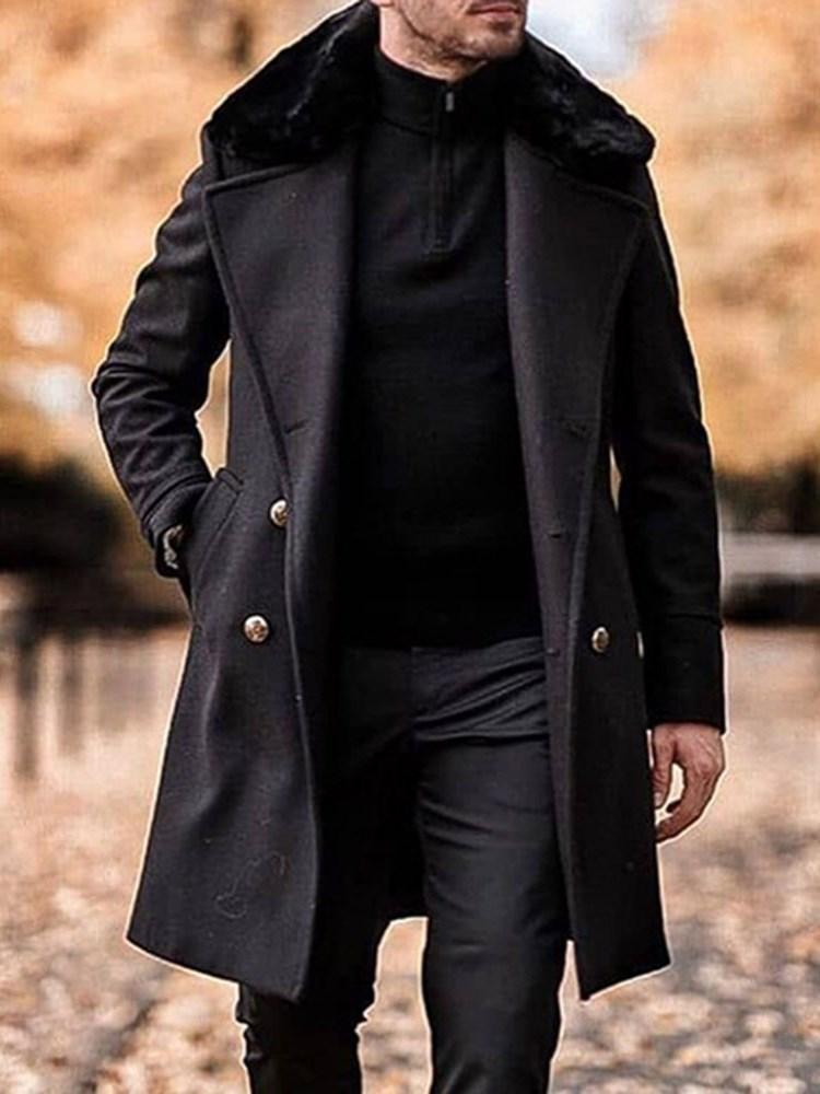 Plain Mid-Length Button Casual Winter Coat