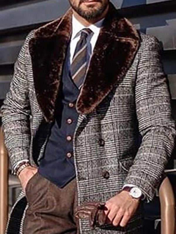 Button Mid-Length Plaid Winter Single-Breasted Coat