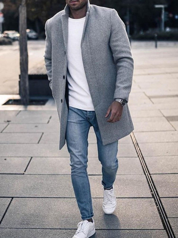 Mid-Length Button Plain A Line Casual Coat