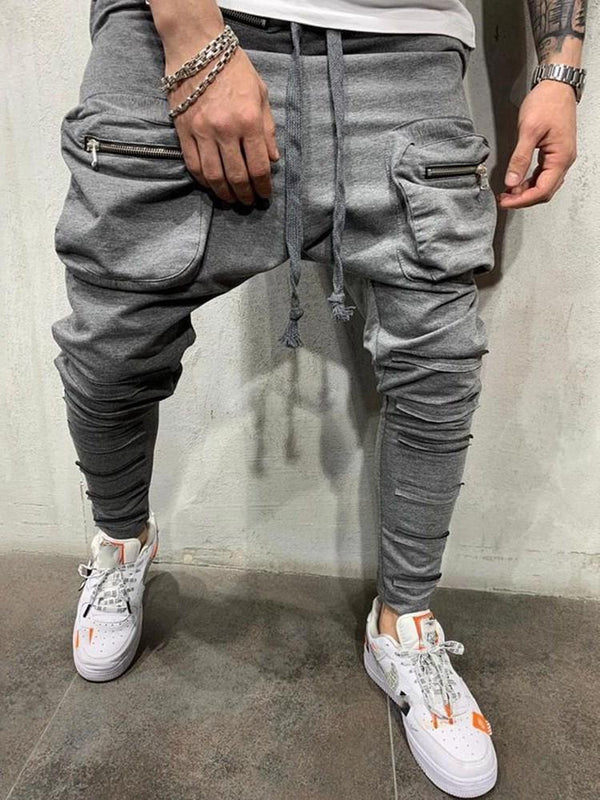 Baggy Pants Plain Zipper Lace-Up Fall Casual Pants