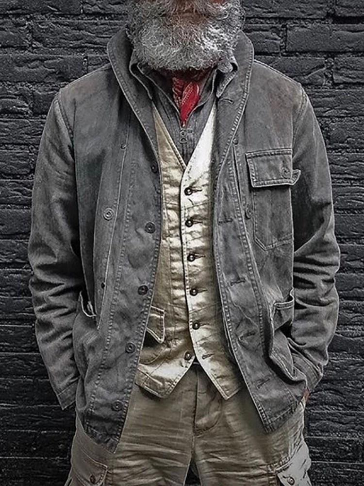 Lapel Button Plain Loose Single-Breasted Jacket