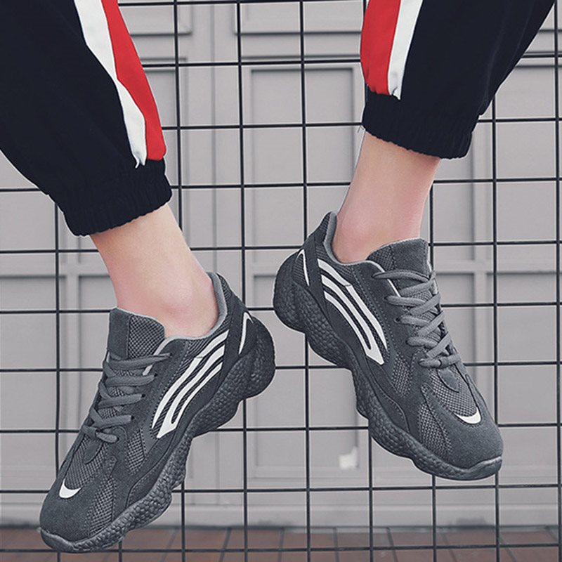 Flat With Lace-Up Round Toe Mesh Sneakers