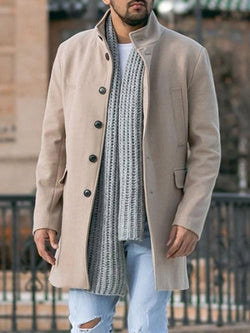 Plain Stand Collar Mid-Length Casual Fall Coat
