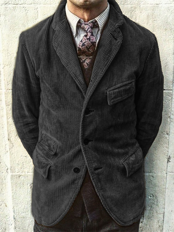 Button Lapel Plain Single-Breasted Casual Jacket