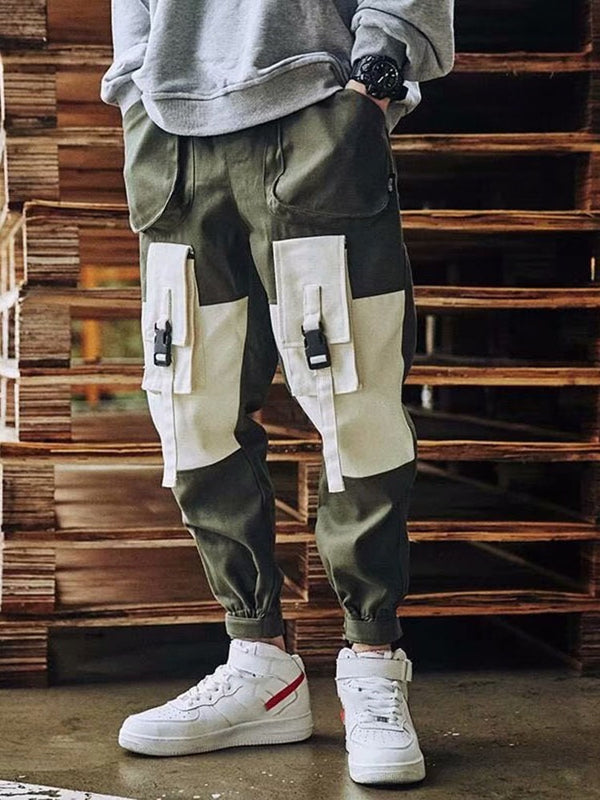 Color Block Overall Lace-Up Four Seasons Casual Casual Pants
