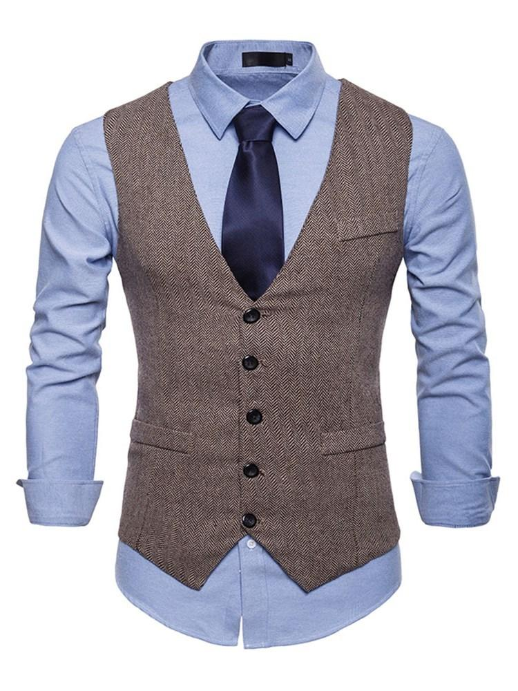 Plain Stand Collar Pocket Single-Breasted Spring Waistcoat