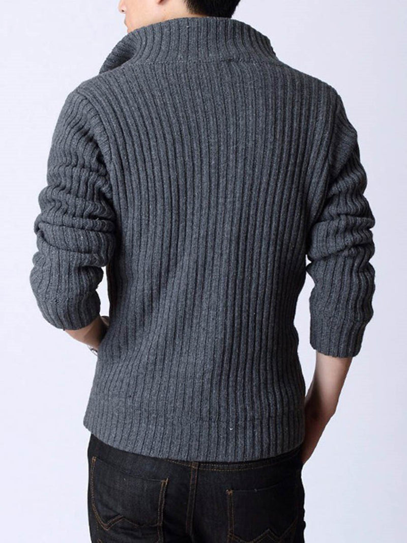 Plain Standard Button Winter Single-Breasted Sweater