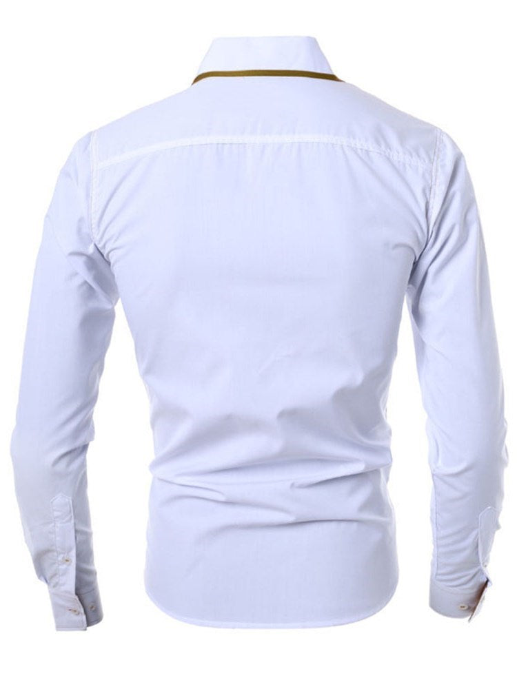 Casual Patchwork Lapel Slim Single-Breasted Shirt