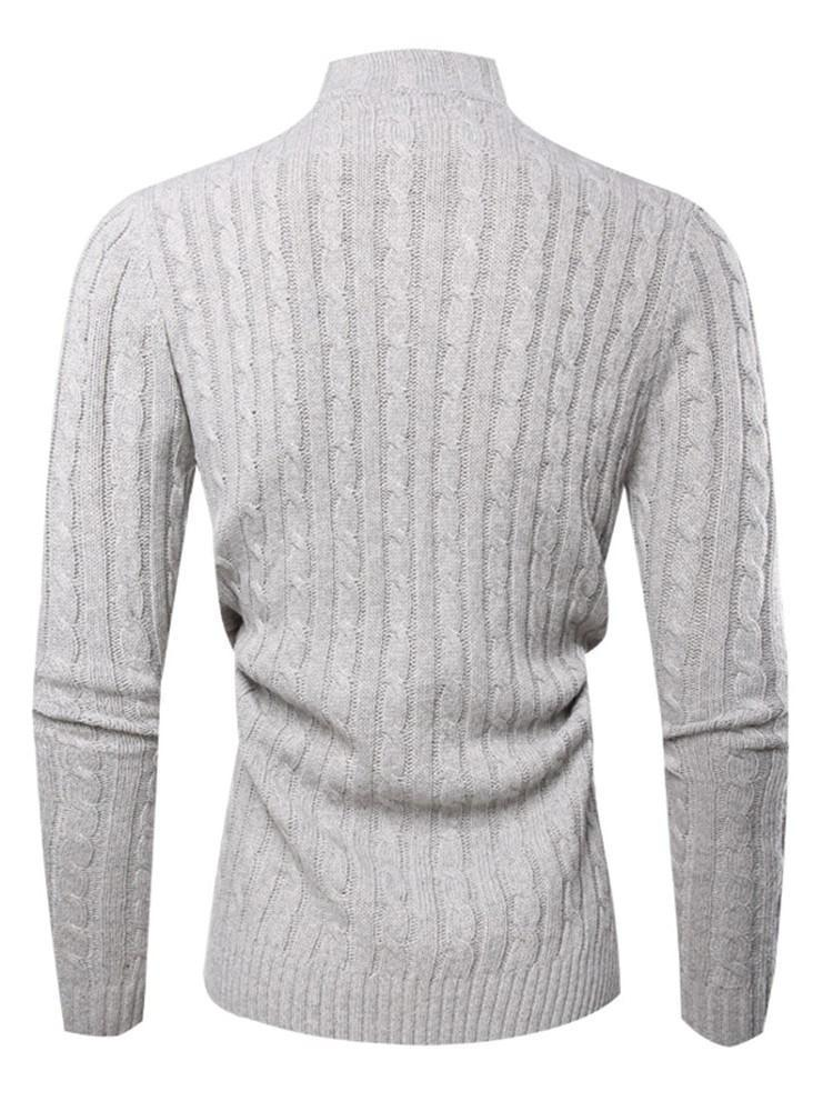 Button Plain Turtleneck Casual Slim Sweater