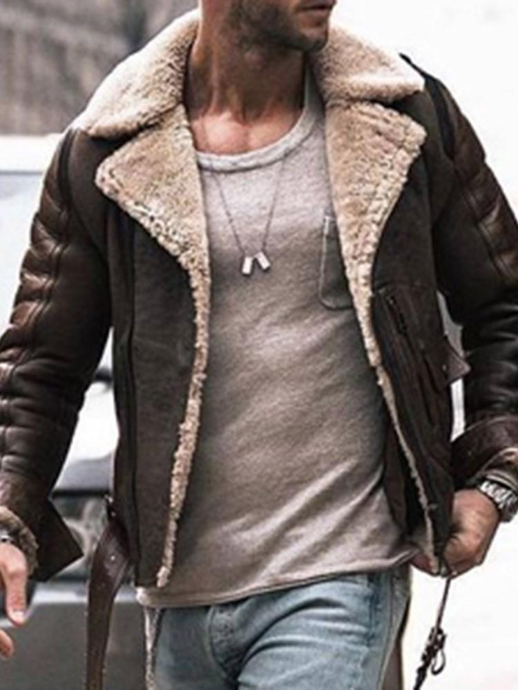Lapel Thick Zipper Casual Loose Jacket