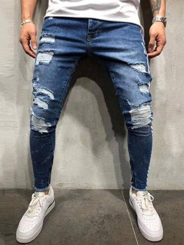Zipper Color Block Zipper Casual Jeans