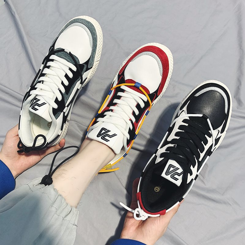 Color Block Flat With Lace-Up Low-Cut Upper Round Toe Skate Shoes