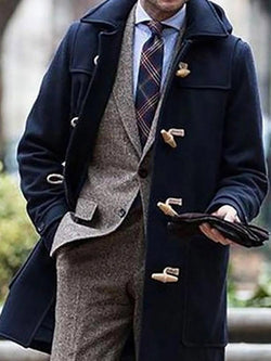 Plain Lapel Mid-Length Casual Winter Coat