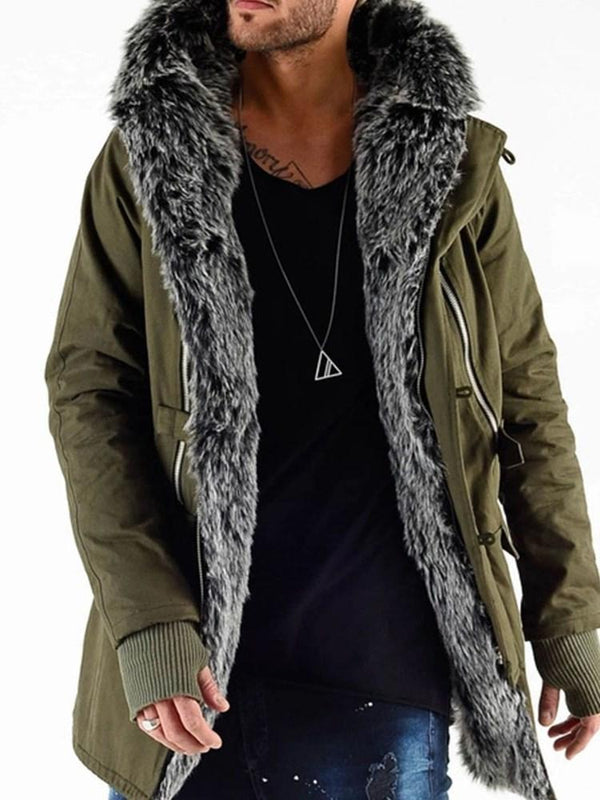 Patchwork Hooded Mid-Length Zipper Winter Coat