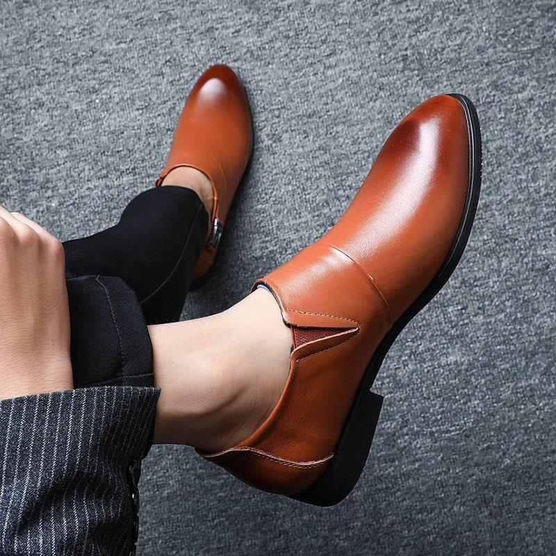 Low-Cut Upper Plain Pointed Toe Leather Shoes
