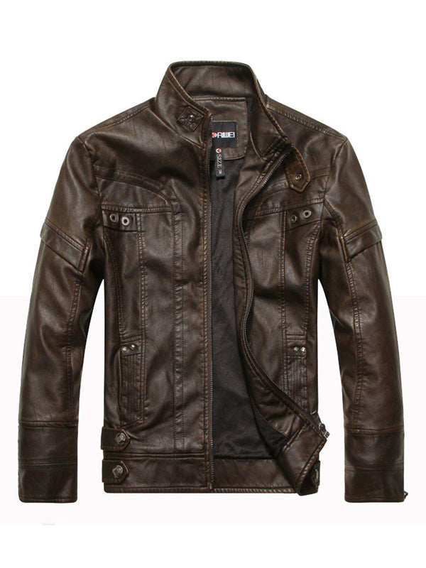 Plain Standard Stand Collar Spring Zipper Leather Jacket