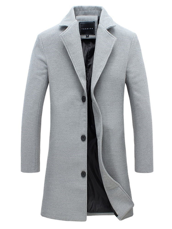 Notched Lapel Plain Mid-Length Casual Single-Breasted Trench Coat