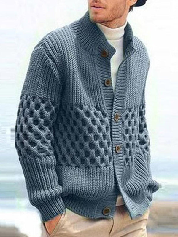 Plain Button Stand Collar Casual Single-Breasted Sweater