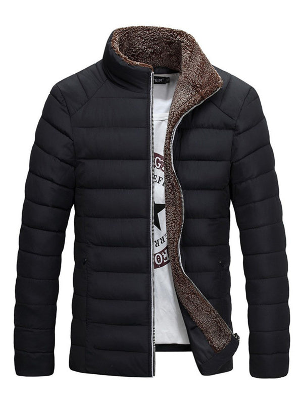 Plain Standard Stand Collar Zipper Down Jacket