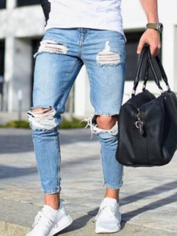 Pencil Pants Plain Pleated Zipper Mid Waist Jeans