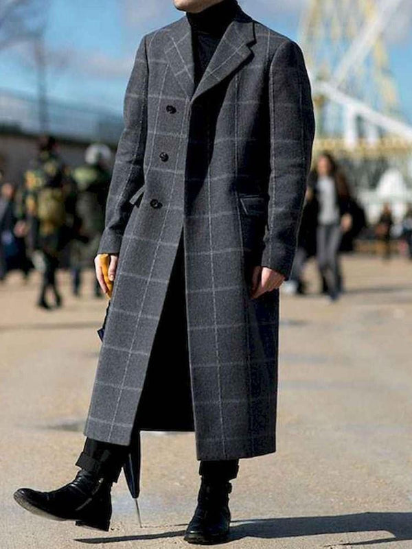 Long Lurex Color Block Straight Single-Breasted Coat