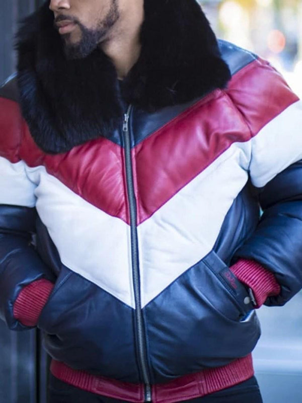 Color Block Lapel Patchwork Casual Zipper Down Jacket