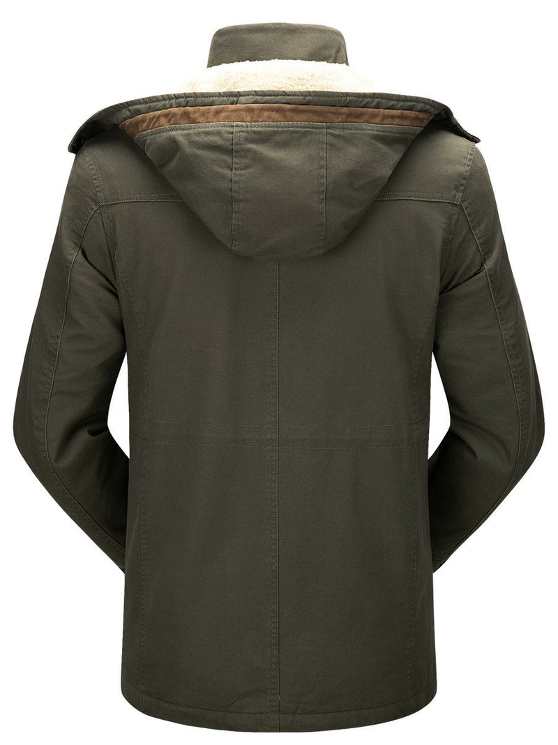 Pocket Mid-Length Plain Zipper European Down Jacket