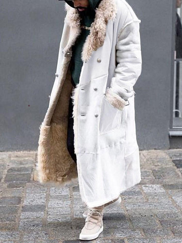 Long Color Block A Line Casual Coat