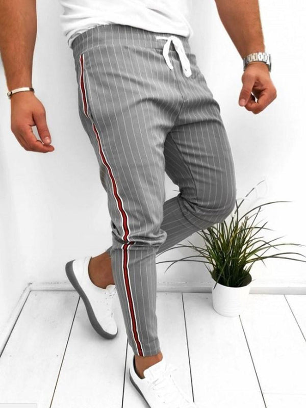 Stripe Harem Lace-Up Four Seasons European Casual Pants