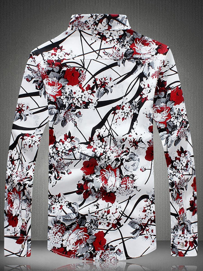 Lapel Print Floral Slim Single-Breasted Shirt