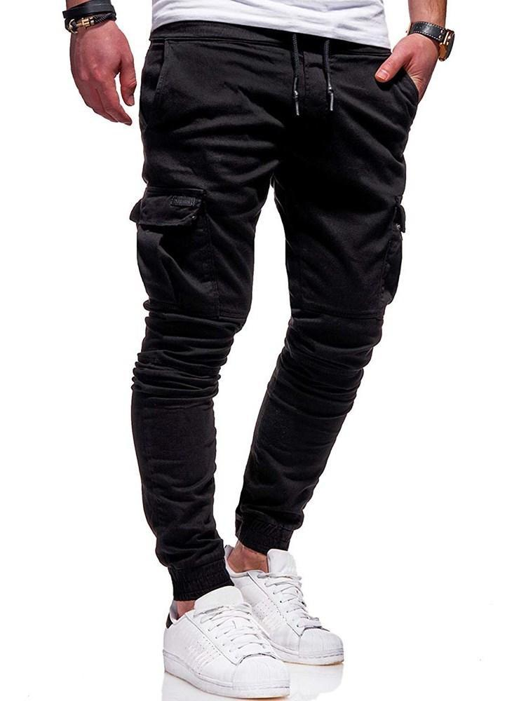 Pocket Plain Lace-Up Spring Casual Pants