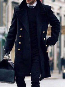 Button Long Color Block Straight Fashion Coat