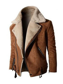 Color Block Zipper Lapel Casual Winter Jacket