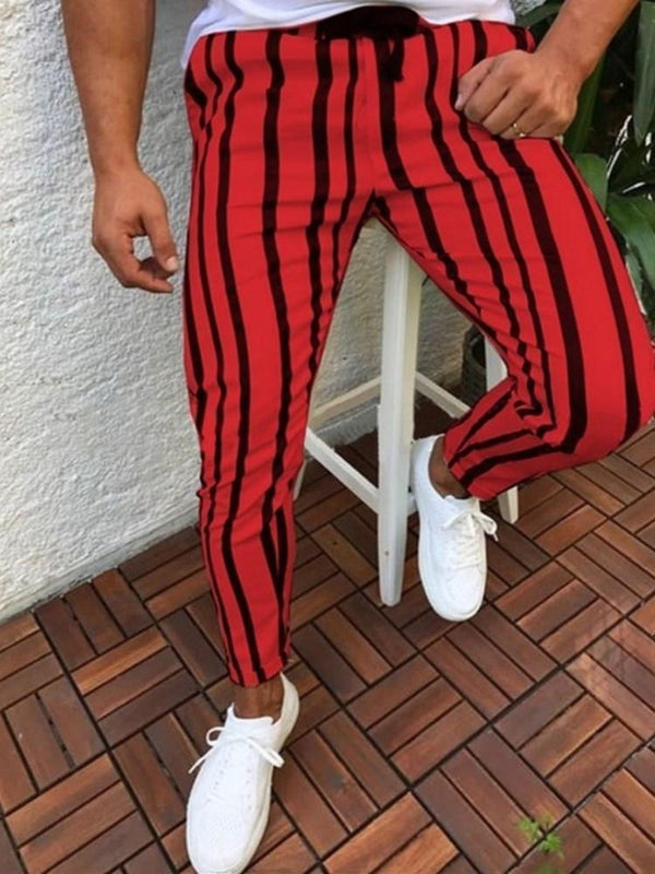 Stripe Print Pencil Pants Mid Waist Lace-Up Casual Pants