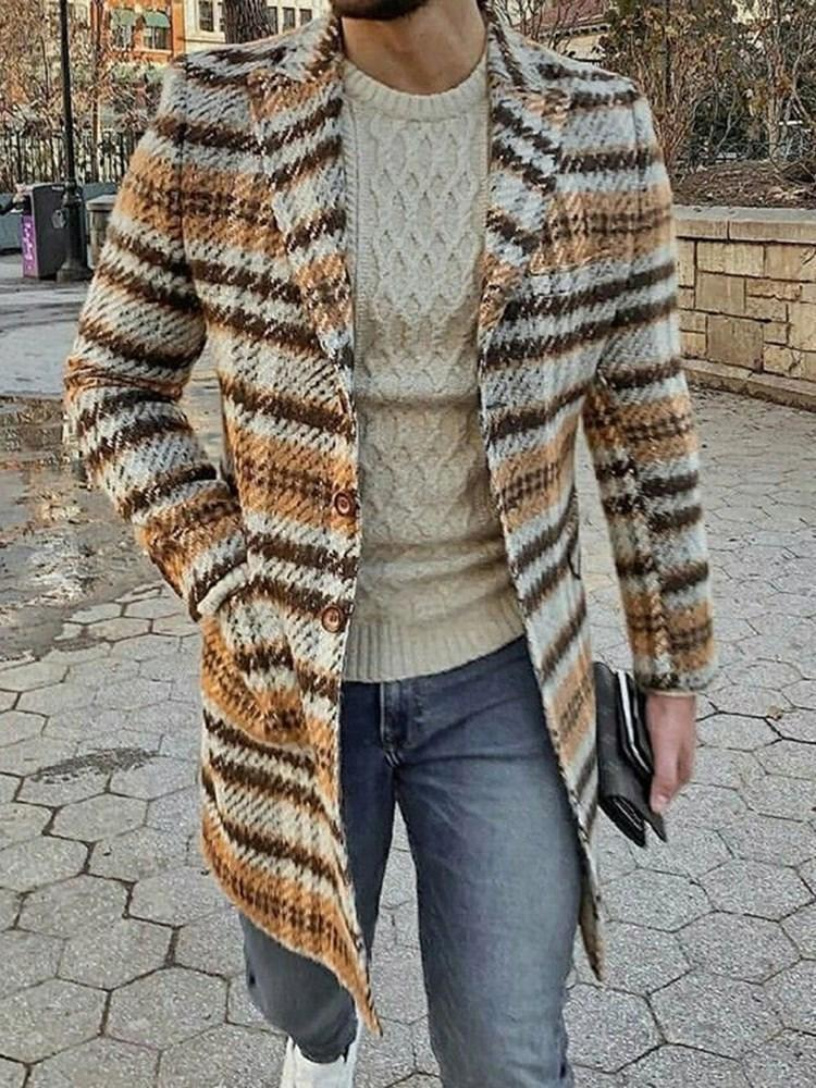 Pocket Lapel Color Block Single-Breasted Winter Coat