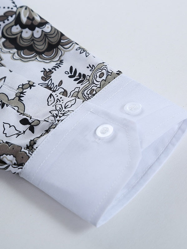 Stand Collar Casual Print Slim Spring Shirt