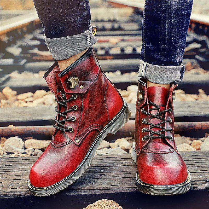 Color Block Lace-Up Front Round Toe Boots