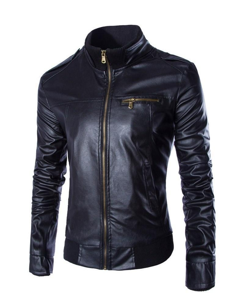 Standard Stand Collar Plain Slim Fall Leather Jacket
