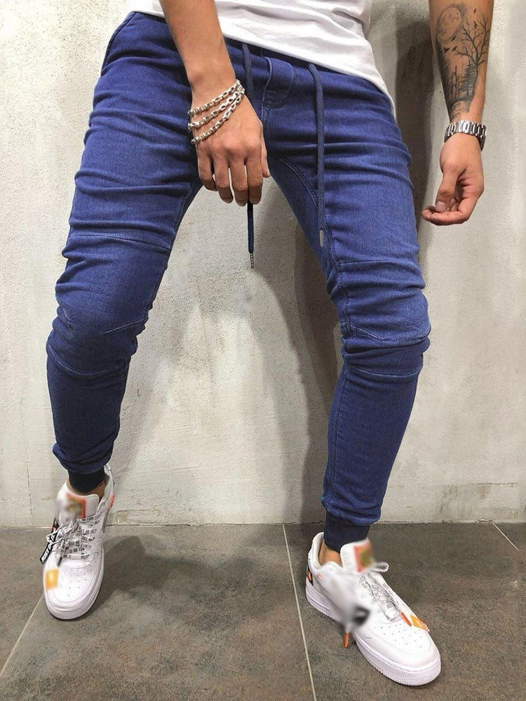 Lace-Up Plain Pencil Pants Lace-Up Casual Jeans