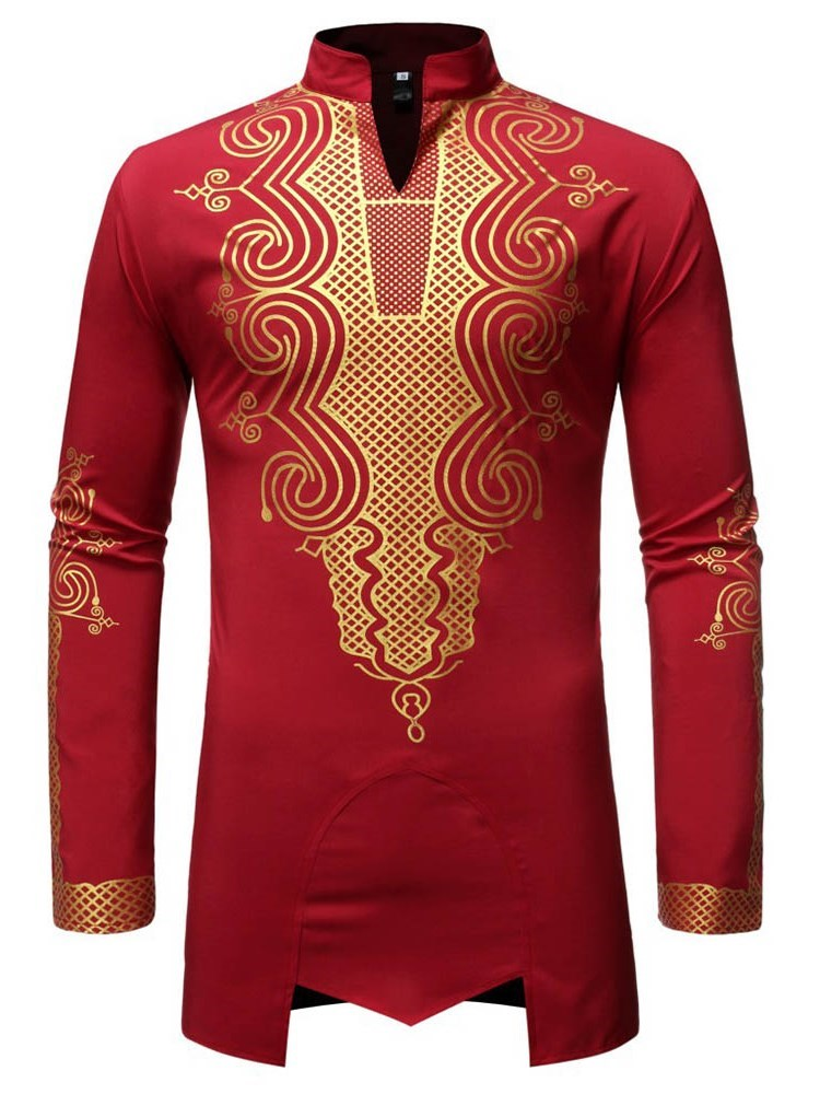 African Ethnic Style Print Stand Collar Slim Fall Shirt
